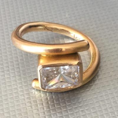 18K yellow gold & white Sapphire ring-Natalie Barat Design