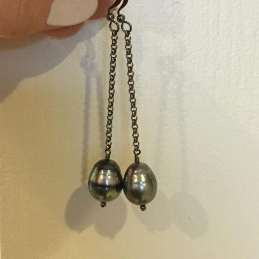 Long dangle Tahitian pearl earrings