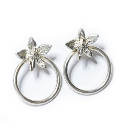 Flower Power hoop silver earrings-Natalie Barat Design
