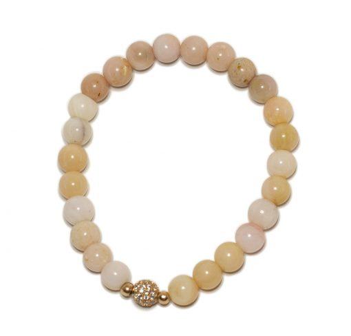 Pink Opal rose gold pave diamond cz bracelet