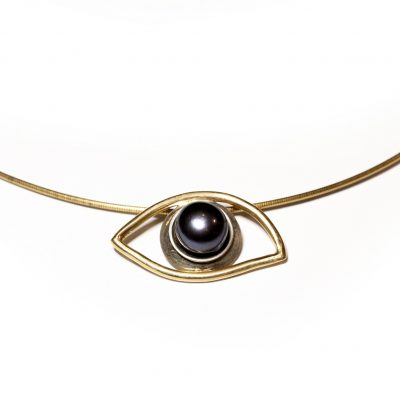 18 k gold and silver eye with black pearl-Natalie Barat Design
