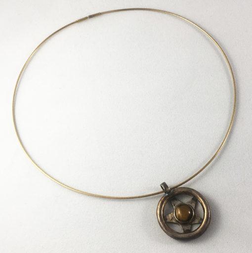 Tiger's eye oxidized silver necklace-Natalie Barat Design