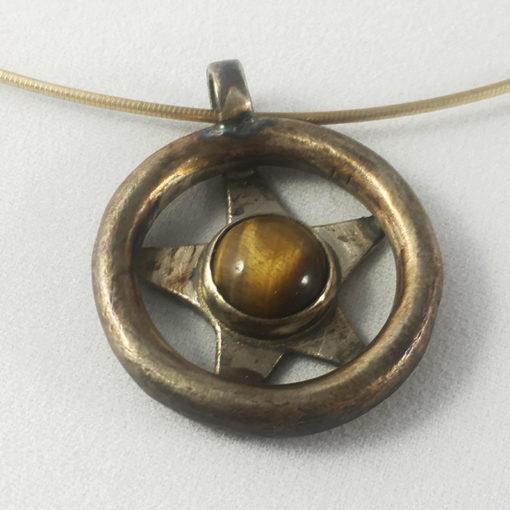 Tiger's eye oxidized silver necklace