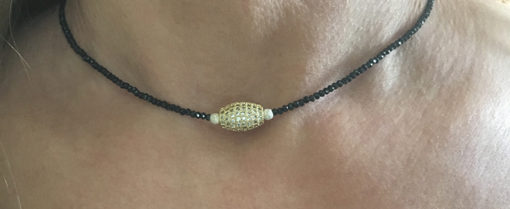 black Spinel and micro pave gold tone
