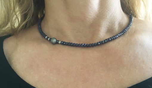 Sapphire and pave diamond with silver necklace-Natalie Barat Design