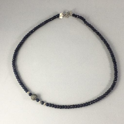 Sapphire and pave diamond necklace-Natalie Barat Design