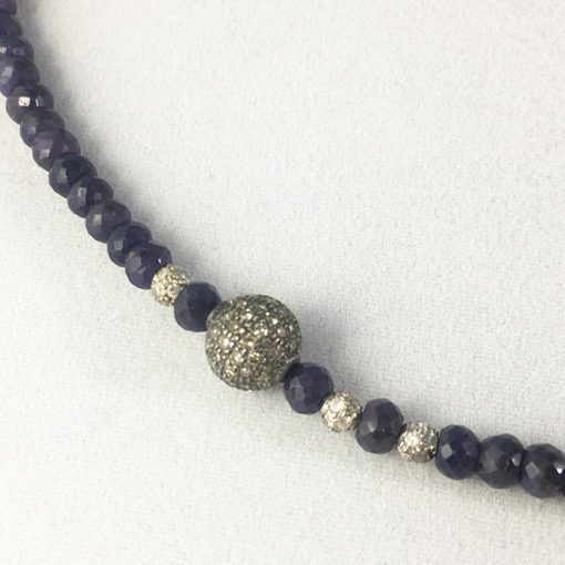 Sapphire and pave diamond silver necklace-Natalie Barat Design