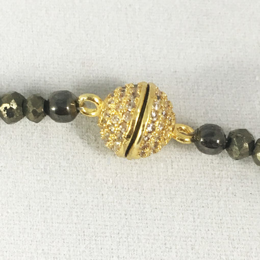 Pyrite and golden pave diamond CZ beaded chocker or double wrist wrap