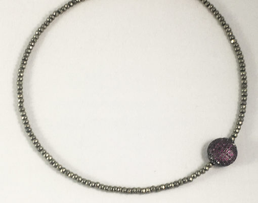 Natural Pyrite and pave CZ choker/ wrist wrap