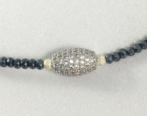 silvery black beads choker-double bracelet