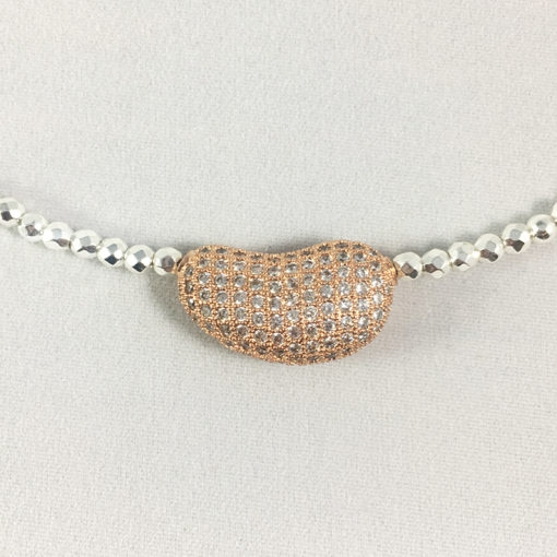 Hematite & rose gold pave CZ double wrist wrap or choker