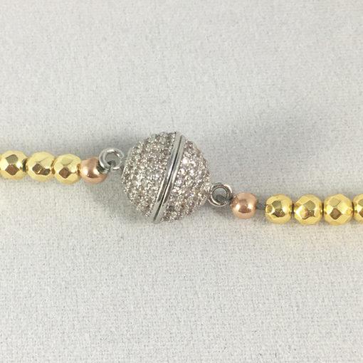 golden Hematite silver pave diamond CZ magic bean magnetic clasp