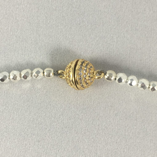 Hematite & pave CZ double wrist wrap or choker magnetic clasp