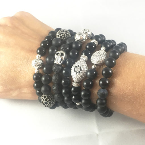 Assorted black bead bracelets