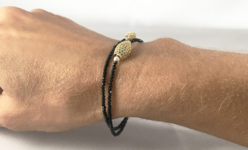 black Spinel and micro pave gold tone with magnetic clasp- choker or double bracelet