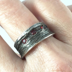 Ring Oxidized silver with 3, 2.5mm Rubies - Natalie Barat Design