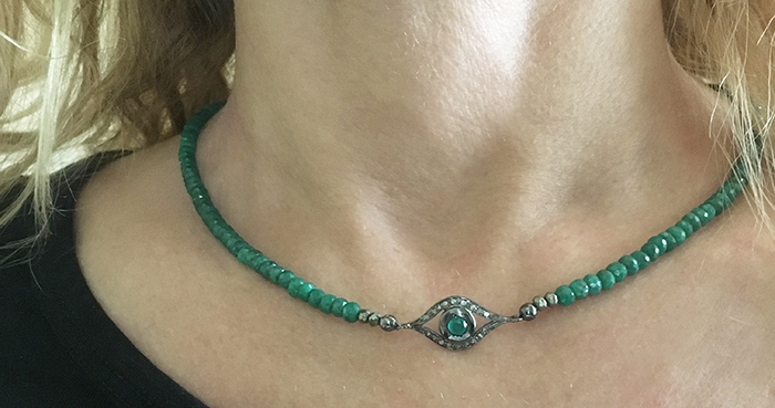 Emerald and pave diamond evil eye necklace-Natalie Barat Design