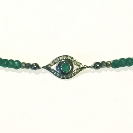 emerald and pave diamond evil eye necklace