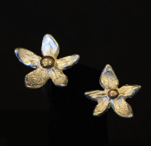 Flower power-in between finger ring- silver and 14K gold-Natalie Barat Design