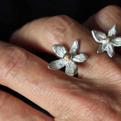 Flower power-in between finger ring- silver and 14K gold-Natalie Barat Design