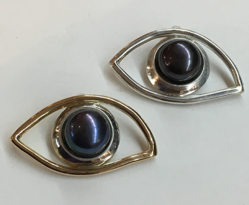 gold and silver eye pendants-Natalie Barat Design
