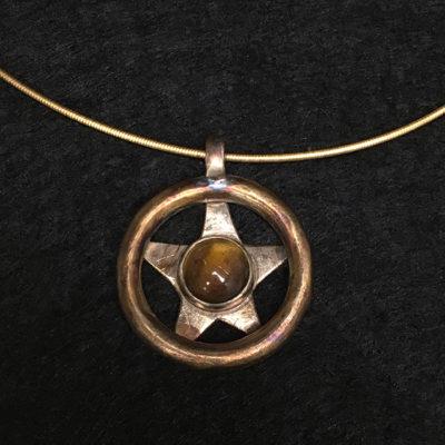 Tiger eye oxidized silver necklace