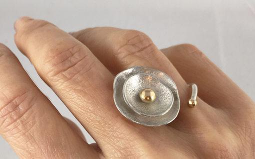 18K gold and silver birds nest ring- Natalie Barat Design