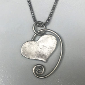 Silver Molten heart necklace- Natalie Barat Design