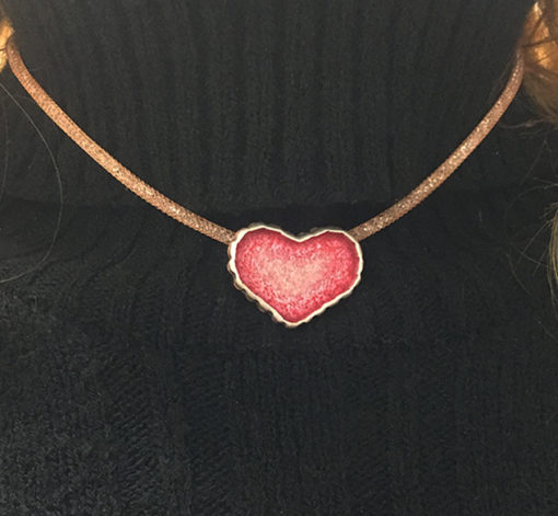 Silver and copper painted heart necklace- Natalie Barat Design