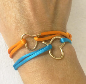 18K gold mini and brass small open heart bracelet-Natalie Barat Design
