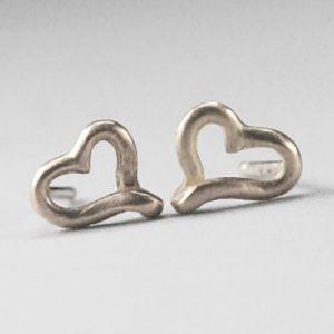 silver micro heart studs