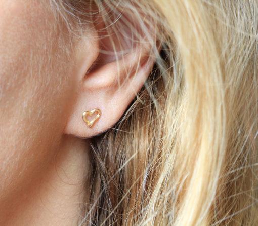 18K micro mini gold ear studs