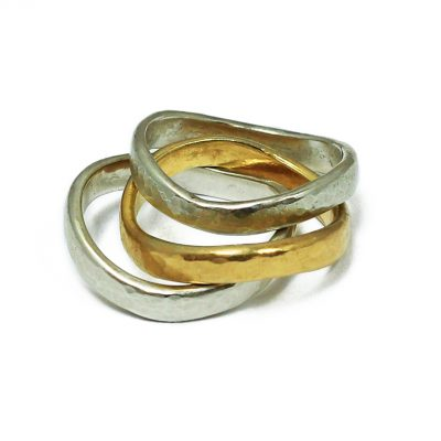 Wave bands-18K gold and silver-Natalie Barat Design