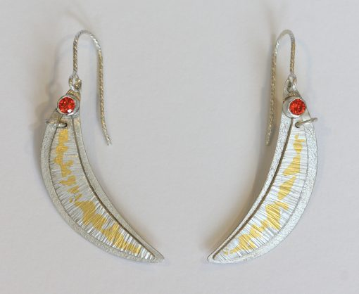 Dangling red Sapphire silver and 24K earrings