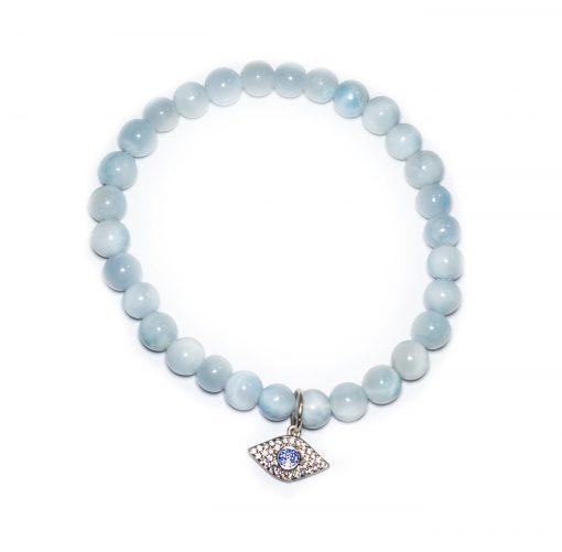 Evil eye aquamarine beaded bracelet