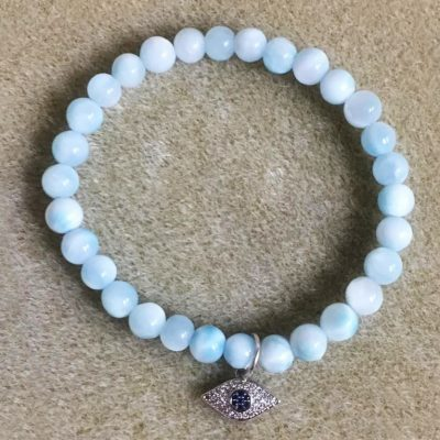 Evil eye aquamarine beaded bracelet