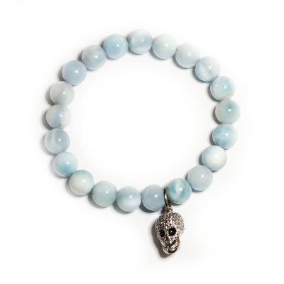 Aquamarine beaded skull bracelet