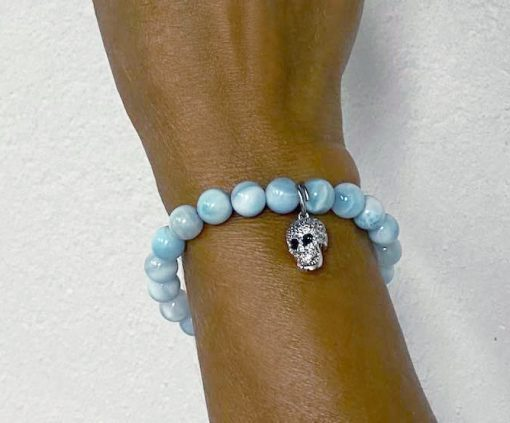 Aquamarine beaded skull bracelet