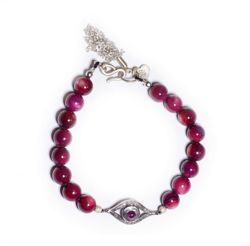 Ruby evil eye beaded bracelet
