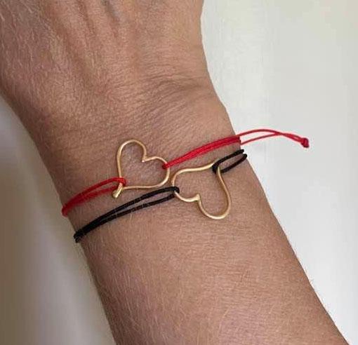 18K yellow gold mini heart bracelets