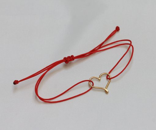 Mini 18K gold heart bracelet with red cord