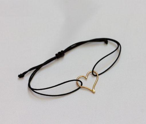 Mini 18K gold heart bracelet with black cord