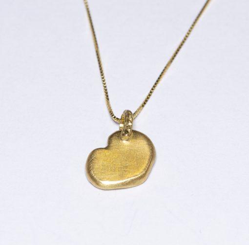 back of mini golden heart pendant-Natalie Barat Design