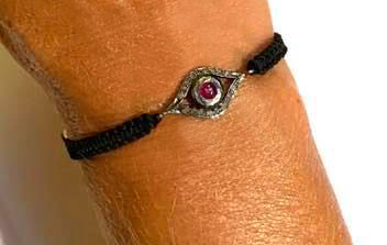 evil eye ruby and diamond cord bracelet