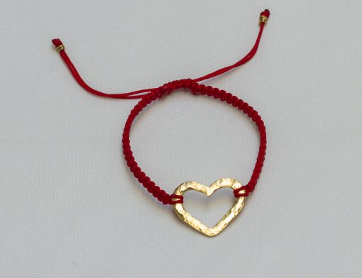 18K gold hammered heart bracelet