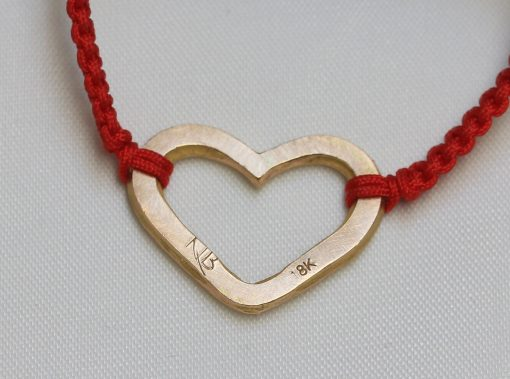 18K gold hammered heart bracelet's back