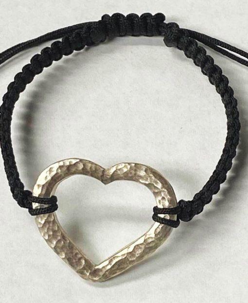 Silver hammered heart bracelet