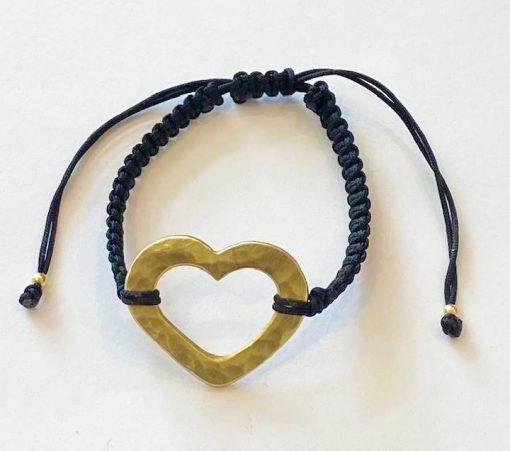Brassy hammered heart bracelet