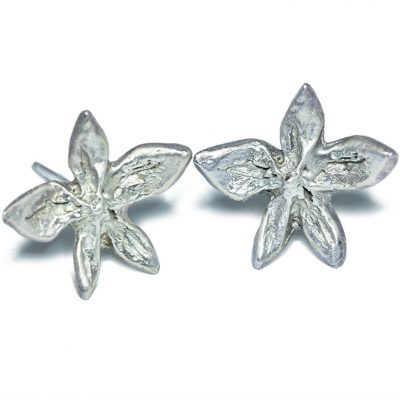 Silver flower power stud earrings