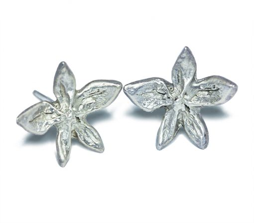 Silver flower power stud earrings
